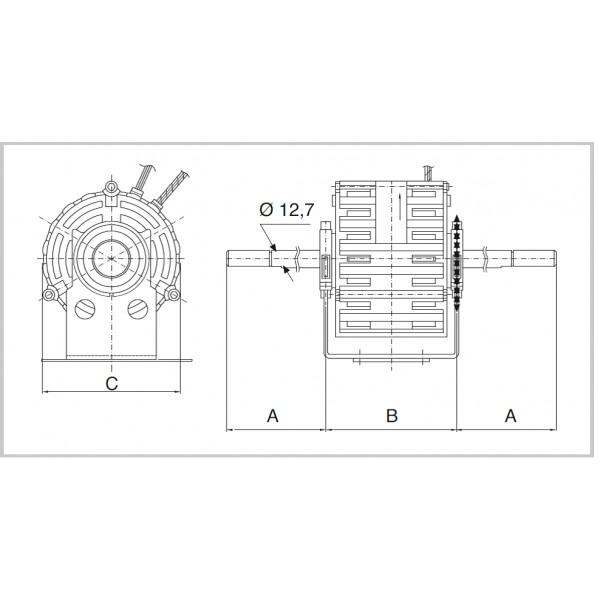Motor 245W - 6 Poles - 3 Speed