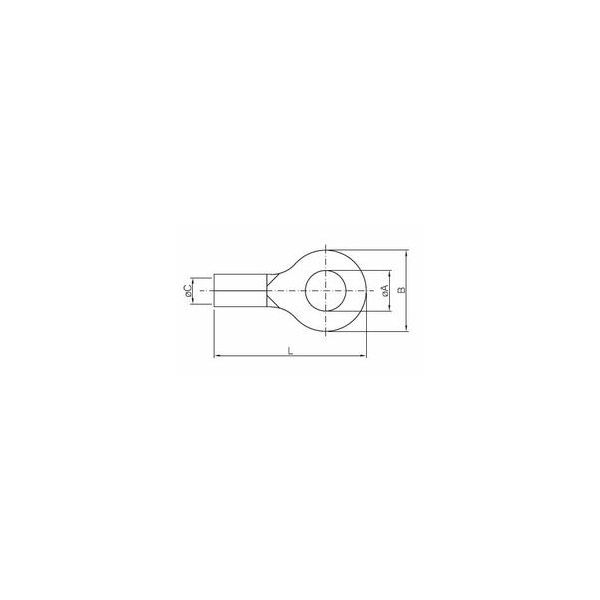 COPPER EYELET TERMINAL NON INSULATED D. SCREW 10, PACK 100 PCS.