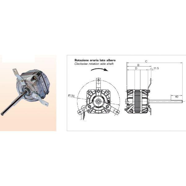 MOTORE MONOFASE 13W - 4 velocità per Ventilconvettori